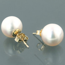 7.5-8mm 14K Gold White Freshwater Pearl Earrings