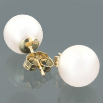 8.5-9mm 14K Gold White Freshwater Pearl Stud Earrings