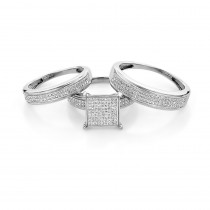 Affordable Bridal Trio Ring Sets: Diamond Engagement Set Sterling Silver