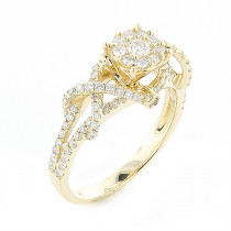 Affordable Criss-cross Diamond Engagement Ring 0.8ct 14K Gold