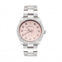 Air King Rolex Diamond Watch for Women 2ct Pink Dial