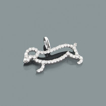Animal Charms: 10K Gold Diamond Dog Pendant 0.19ct