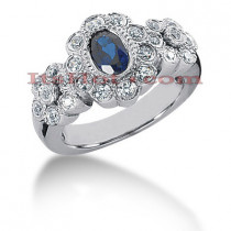 Antique Style Blue Sapphire Engagement Ring 14K 0.46ctd 0.50cts