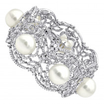 Art Deco White South Sea Pearl and Diamond Bracelet for Women 18k Gold