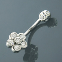 Belly Button Rings Gold Diamond Belly Ring Flower 0.62