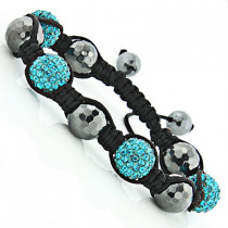 Black and Green Disco Ball Bracelet with Crystals