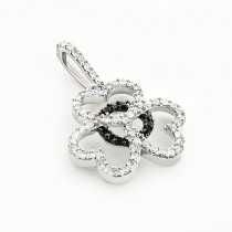 Black and White Diamond Heart Pendant 0.25ct 14K Gold
