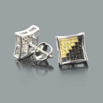 Black and Yellow Diamond Stud Earrings 0.50ct Sterling Silver