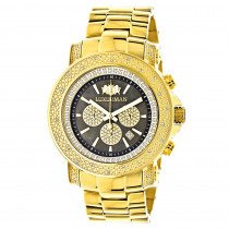 Black Dial Luxurman Diamond Watch 0.75ct Yellow Gold Plated Escalade