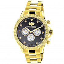 Black Dial Yellow Gold Plated Luxurman Diamond Watch for Men 0.2ct New