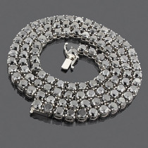 Black Diamond Chain Necklace 14K 119.70ct