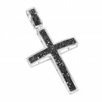 Black Diamond Cross Pendant 10K Gold 0.85ct