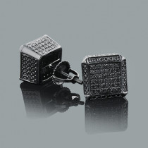 Black Diamond Cube Earrings 0.50ct Silver Black PVD