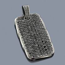 Black Diamond Dog Tag Pendant 14K Gold 7.50ct