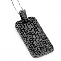Black Diamond Dog Tag Pendant 7.15ct Sterling Silver