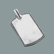 Black Diamond Dog Tag Pendant in Sterling Silver 0.59ct