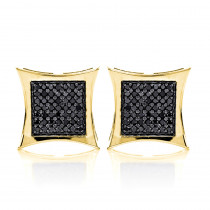 Black Diamond Earrings 14K Gold Kite Studs 1.55ct