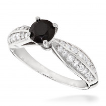 Thin Black Diamond Engagement Ring 14K Gold 0.92ct