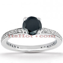 Thin Black Diamond Engagement Ring 14K Gold 0.94ct