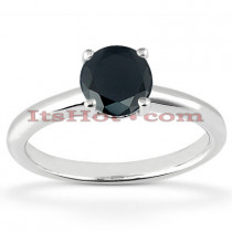 Thin Black Diamond Engagement Ring 14K Gold 1.32ct