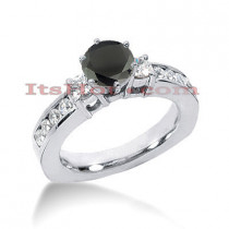 Thin Black Diamond Engagement Ring 14K Gold 1.52ct