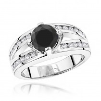 Black Diamond Engagement Ring 2.70ct 14K Gold Rings