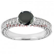 Thin Black Diamond Engagement Rings: 14K Gold Ring 0.76ct