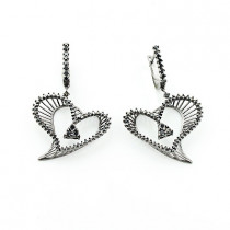 Black Diamond Heart Earrings 1.63ct 14K