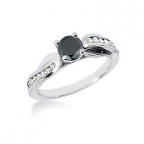 Thin Black Diamond Jewelry: Engagement Ring 0.80ct 14K Gold