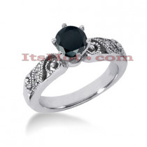 Thin Black Diamond Ring: Unique Engagement Jewelry 0.67ct 14K