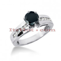 Black Diamond Ring: Unique Engagement Jewelry 0.82ct 14K Gold