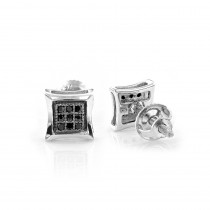 Black Diamond Stud Earrings 0.10ct Sterling Silver Kytes
