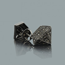 Black Diamond Stud Earrings 0.40ct Sterling Silver Black PVD