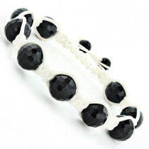 Black Disco Ball Bracelet with White String