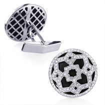 Black Onyx and Diamond Fancy Cufflinks For Men