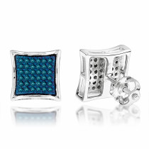 Blue Diamond Stud Earrings 0.33ct Silver