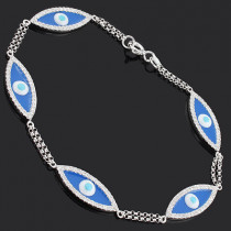 Blue Evil Eye Bracelet With Diamonds 0.86ct 14K