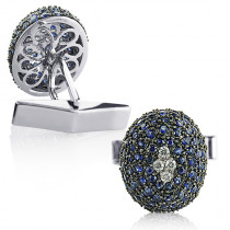 Blue Sapphire and Diamond Cufflinks for Men 14K Gold