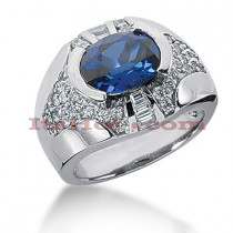 Blue Sapphire and Diamond Ring 14K 1.03ctd 1.25cts