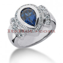 Blue Sapphire Engagement Ring with Diamonds 0.59ctd 2cts 14K