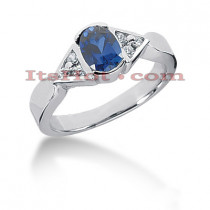 Blue Sapphire Engagement Ring with Diamonds 14K 0.12ctd 0.75cts
