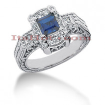Thin Blue Sapphire Engagement Ring with Diamonds 14K 0.37ctd 0.75cts