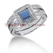 Blue Sapphire Engagement Ring with Diamonds 14K 0.52ctd 1.25cts