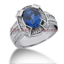 Blue Sapphire Engagement Ring with Diamonds 14K 0.72ctd 3cts