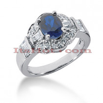 Blue Sapphire Engagement Rings: 14K Gold Diamond Ring 0.77ctd 1.25cts