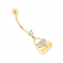 Body Jewelry: 14K Gold Diamond Purse Belly Button Ring 0.29