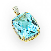 Brilliant Blue Topaz Gemstone Pendant with Diamonds 14K Gold