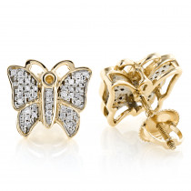 Butterfly Earrings Diamond Studs 0.45ct Solid Gold