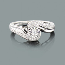 Cheap Diamond Promise Rings: Ladies Sterling Silver Ring  0.18ct
