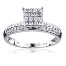Classic Square Diamond Engagement Ring 0.3ct 14K Gold